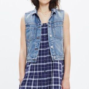 Madewell Jean Jacket Sleeveless Blue Vest E9638 S
